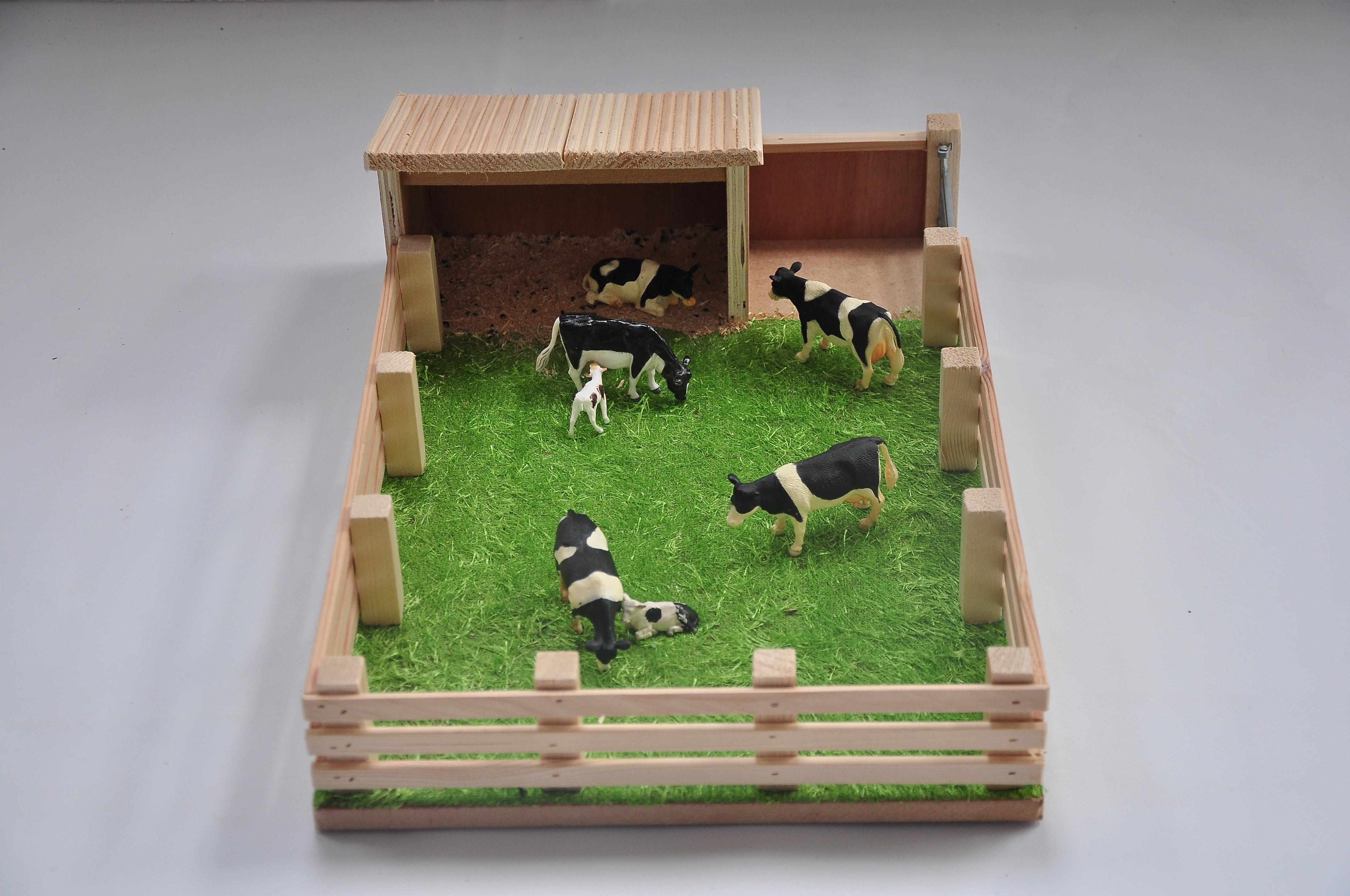 Model Calf House With Field Wooden Handcrafted Farm Sets Nortern